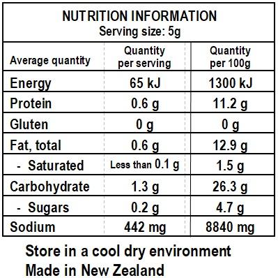 Cosmo's Spicy Harissa Nutrition