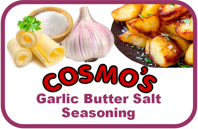 Cosmo's Garlic Butter Salt Label